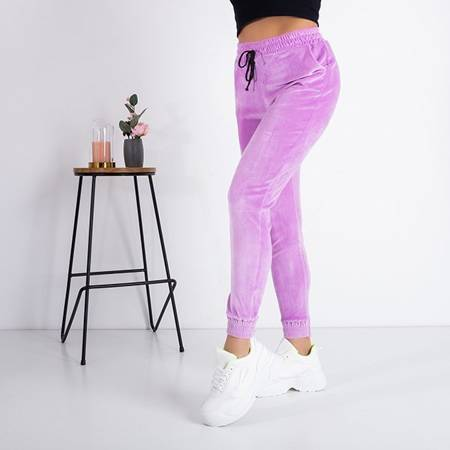 Purple Velor Sweatpants - Trousers