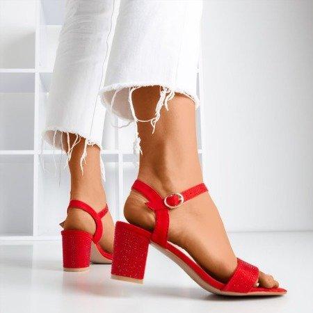 Red high heel sandals with cubic zirconias Tina - Footwear