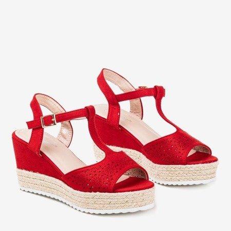 Red openwork women's sandals on a wedge Moris - Footwear 1