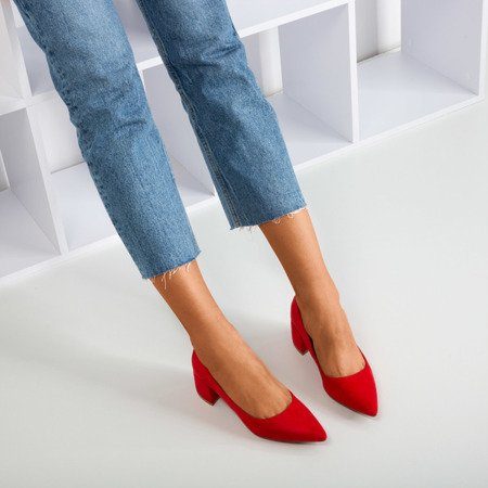 Red pumps on a low post Amee - Footwear 1