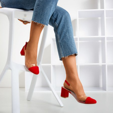 Red pumps on a post with a transparent Evora insert - Shoes