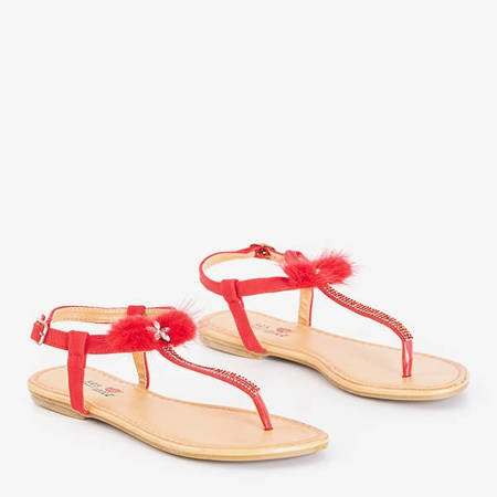 Red women's sandals with Begnetia ornaments - Footwear