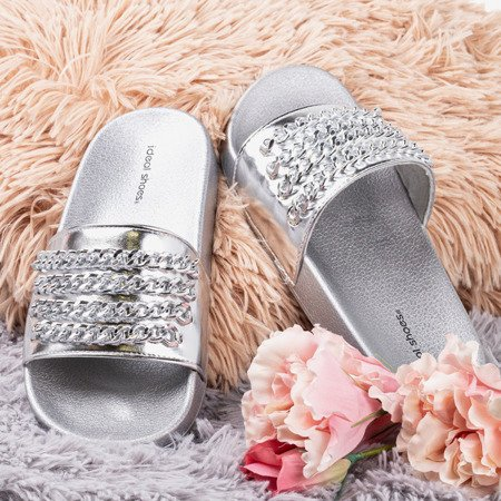 Silver slippers with chain Slivien - Footwear