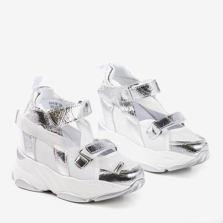 Silver sport sneakers on an indoor wedge with cut-out Karix - Footwear 1