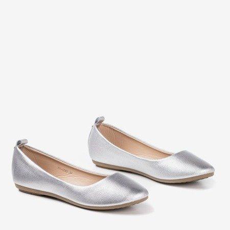 Silver women's ballerinas eco - leather Nastis - Footwear 1
