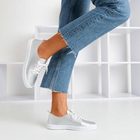 Silver women's openwork Ahama sneakers - Footwear 1