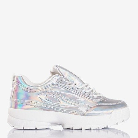 Silver women's sneakers with holographic finish That's It - Footwear 1