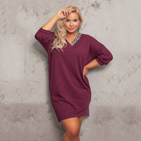 Simple maroon PLUS SIZE dress - Clothing