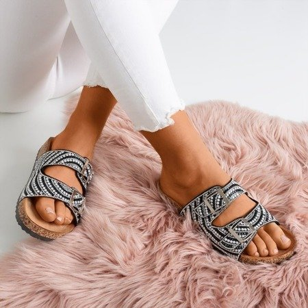 Summer Star black slippers with cubic zirconia - Footwear