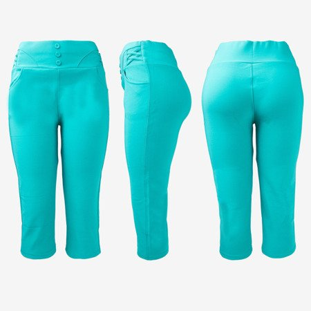 Turquoise short leggings with buttons on the waist - Pants 1