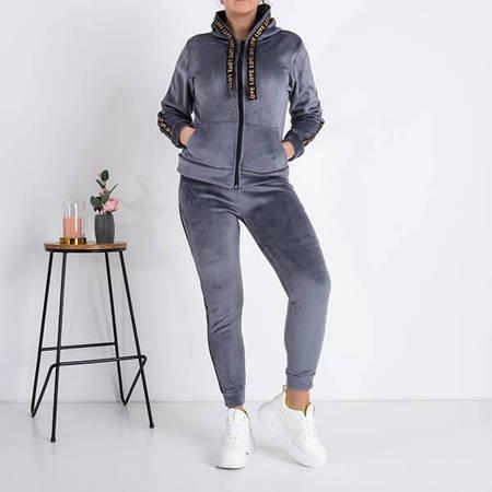 Warm women's gray sweatshirt set with stripes - Clothing