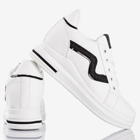 White and black trainers on a wedge heel Say It - Footwear