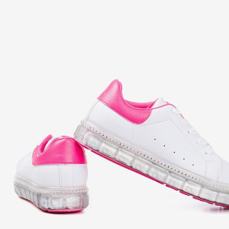 White and pink sneakers on a platform with zircons Mauria - Footwear