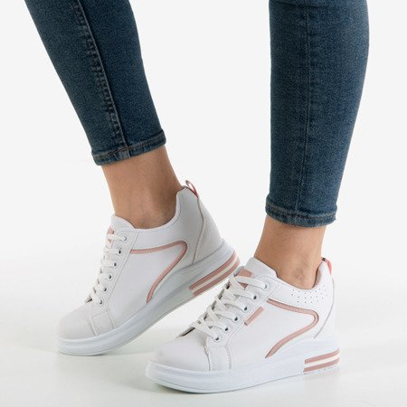 White and pink women's sneakers with an indoor wedge heel Marcja - Footwear