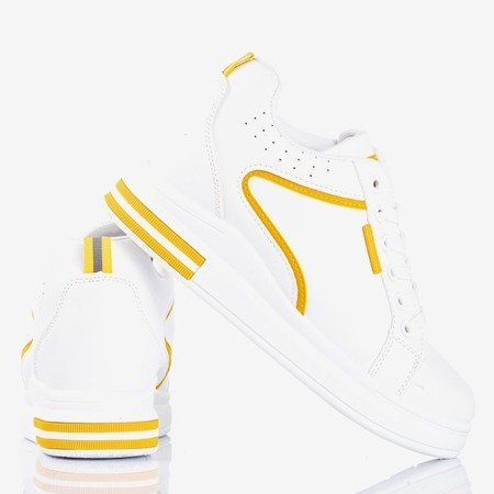 White and yellow women's sneakers with an indoor wedge heel Marcja - Footwear