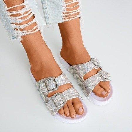 White flip flops with cubic zirconia Joessa - Footwear 1