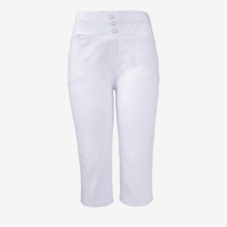 White short leggings with buttons on the waist - Pants 1