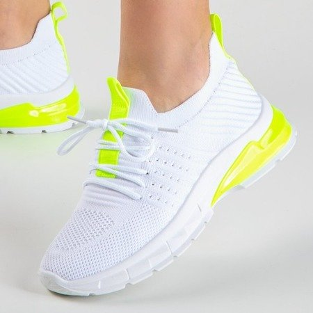White sports shoes with neon yellow Brighton inserts - Footwear 1