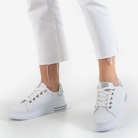 White sports sneakers with silver inserts Solesca - Footwear 1