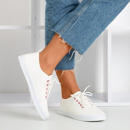 White women's openwork Ahama sneakers - Footwear 1