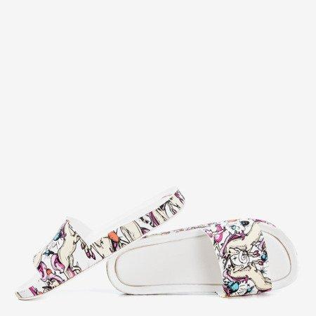 White women's slippers with unicorn Vienradzis motif - Footwear 1