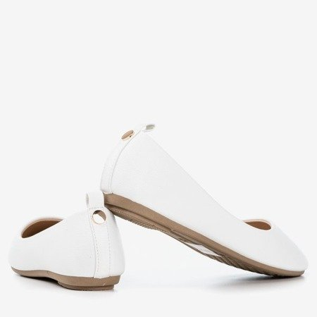 White women's ballerina eco-leather Nastis - Footwear 1