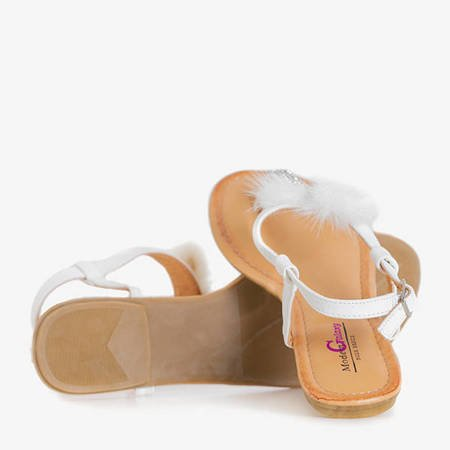 White women's sandals with Begnetia ornaments - Footwear