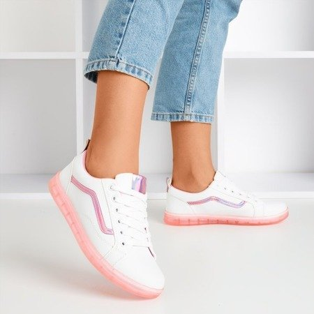 White women's sneakers with a pink holographic Domsca insert - Footwear 1