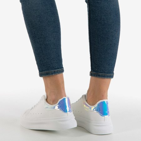 White women's sneakers with holographic Soho insert - Footwear 1