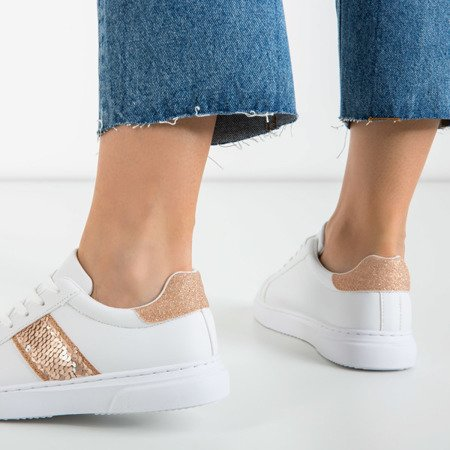 White women's sports sneakers with pink inserts Hypnosis - Footwear 1
