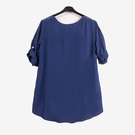 Women's dark blue tunic with print and inscriptions - Blouses 1