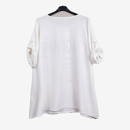 Women's white tunic with inscriptions - Blouses 1