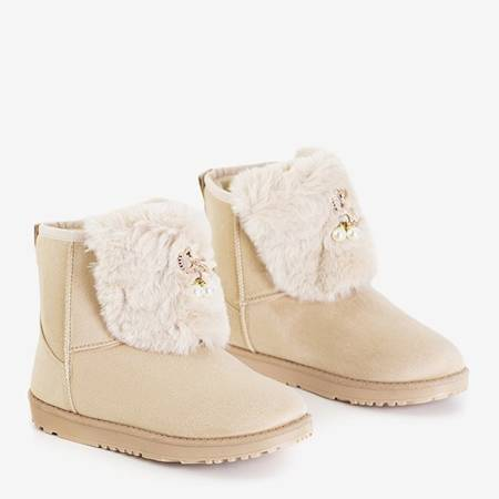 Women's beige snow boots with Iracema decorations - Footwear