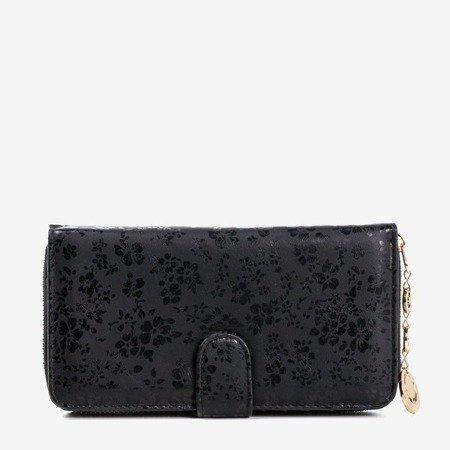 Women's black floral wallet - Wallet