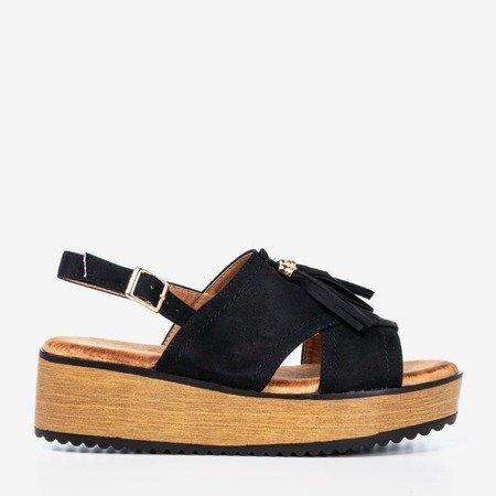 Women's black sandals with Indinara tassels - Footwear