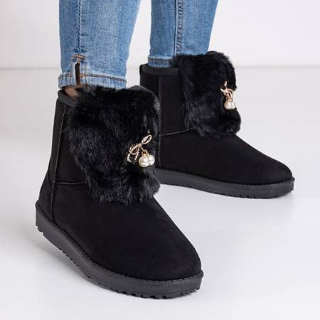Women's black snow boots with Iracema decorations - Footwear