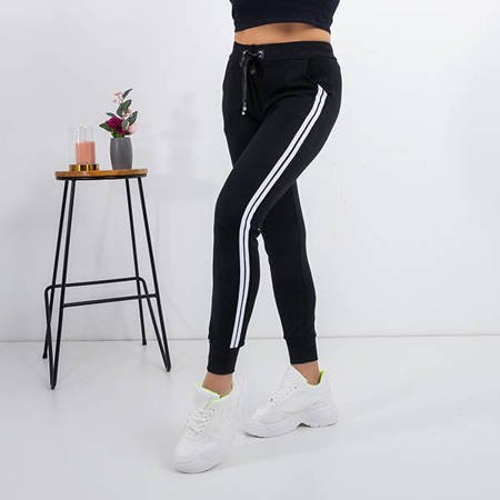 Women's black sweatpants with stripes - Clothing