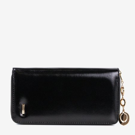 Women's black wallet with a glossy finish - Wallet