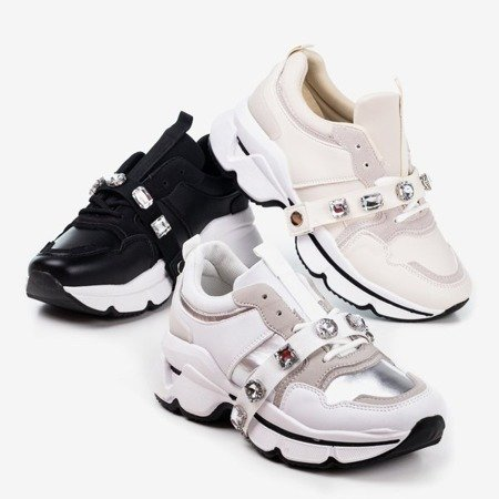 Women's cream sneakers with a thick sole Esita - Footwear