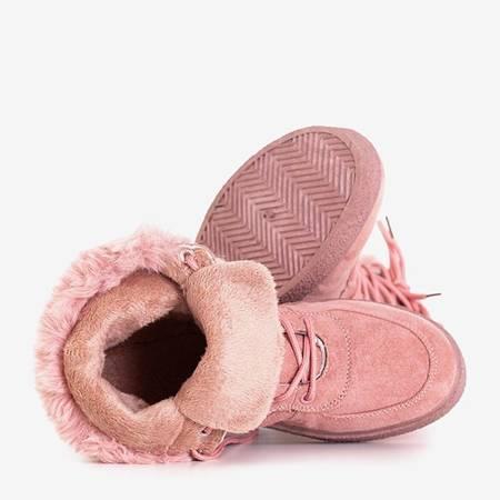 Women's dark pink lace-up snow boots Evitina - Footwear
