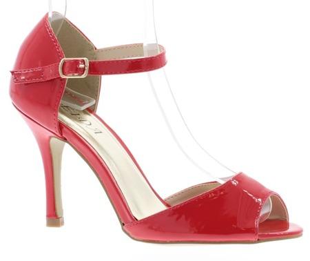 Women's red patent sandals on a Guisera stiletto heel - Footwear