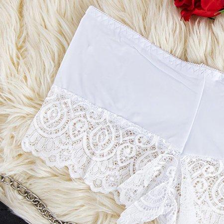 Women's white lace boxer shorts - Underwear