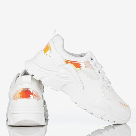 Women's white sneakers with holographic inserts Survive - Footwear