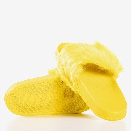 Yellow slippers with fur Millie - Footwear
