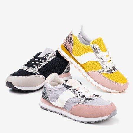 Yellow women's sports shoes with snake skin insert Kamalija - Footwear