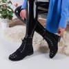 Black women's boots with Matylda decorations - Footwear