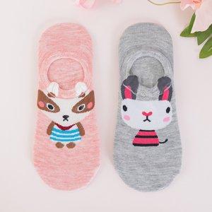 Colorful women's socks with print 2 / pack - Socks