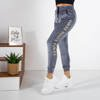 Gray women's sweatpants with inscriptions - Clothing