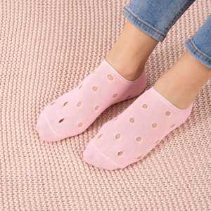 Pink women's ankle socks with decorative holes - Socks