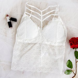 White Lace Top Bralette - Underwear